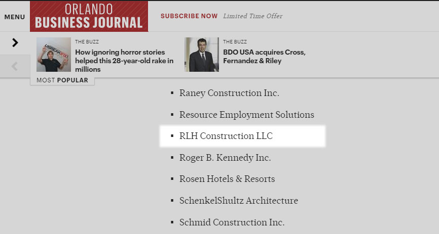 Orlando Business Journal Golden 100 RLH Construction